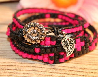 Leather Wrap Bracelet - Black and Pink with Silver SunFlower Button Closure
