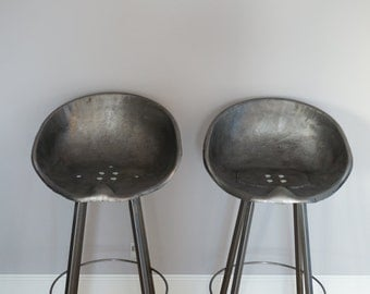 Pair of Tractor Stool Cast Iron Bar Seat Old Rustic Industrial Vintage Style
