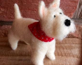 Needle felted Westie dog fibre art with red spot bandana