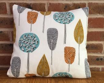 "Scandi Trees Orange, Mustard Yellow and Blue & Grey Modern Decorative Statement Pillow Cushion Cover 16"" / 40cm"