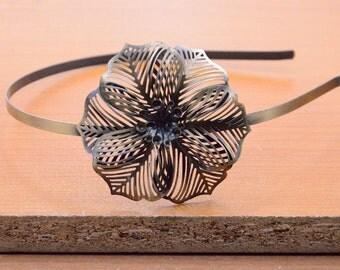 5pcs Antique bronze Headband with round filigree flower, 5mm hair Headbands hairbands,5mm headbands