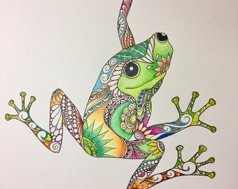 Zentangle frog,frog art,colored frog,zentangle art,colored zentangle,ink colored pencils,wall art,wall art.