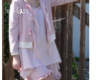 Trapeze in pastel gingham cotton tunic. french Kokotte.