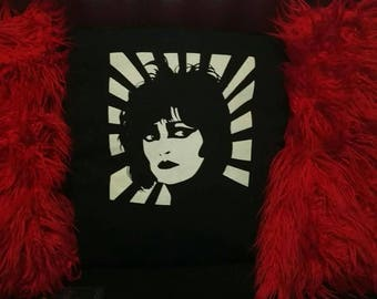Siouxsie Sioux Banshees CUSHION with pad upcycled t shirt goth punk