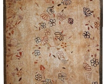 ON SALE 20% Off 4' X 6.9' ( 124cm X210cm) hand made antique American hooked rug 1880