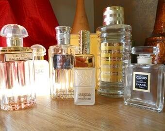 6 Vintage Perfume Bottles. Molinard Lalique/Dior/Coco Chanel/Carven/Hermes/Balenciaga. Collectors.