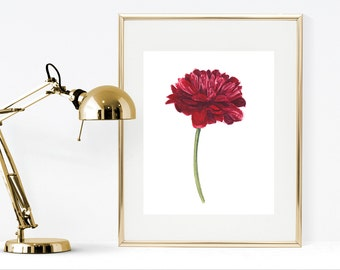 Printable watercolor flower, red dahlia flower watercolor painting, red wall art, floral home decor, digital download watercolor flower