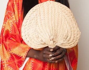 Woven palm leaf fan, vintage palm fromd fan, woven palm frond, wedding decor, wedding favor, boho bride, bohemian bride, summer fan, beach