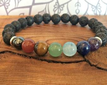 7 Chakra Bracelet with Volcanic Lava, Healing Wrist Mala Beads, Zen Yoga Bracelet, Unisex Spiritual Gift, Grounding + Strength + Courage