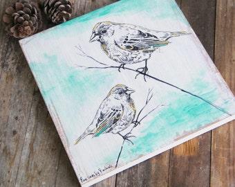 Birds Print on Wood, Bird Wall Art Print, Dorm Decor, Wood Signs, Bedroom Decor, Office Decor, Shabby chic, Nature art, Wood signs
