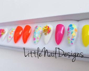 Hand painted neon colour false nails