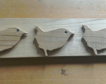 Three Wrens, wooden wall art