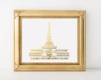 Columbia River Washington LDS Temple Gold Foil Art Print