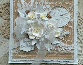 Beautiful Handmade White and Tan Shabby Chic Happy Birthday Greeting Card #WC2017E