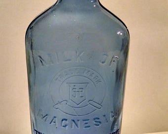 Vintage Glass Cobalt Blue Milk of Magnesia Bottle