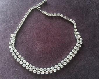 Vintage Double Stranded Crystal Rhinestone Choker Necklace 0890