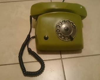 Vintage Yugoslavian rotary phone, retro design telephone