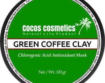 Mothers Day gift/ Green coffee clay mask - French green clay and coffee detox mask with chlorogenic acid powerful antioxidant