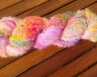Mohair boucle hand dyed yarn