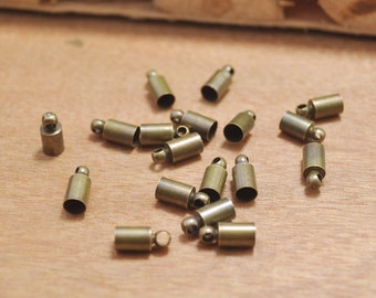 Small End Caps -100pcs antique bronze brass End Cap Clasp Clips Wholesale Jewelry Findings Cord Tip Cord End 9x4mm