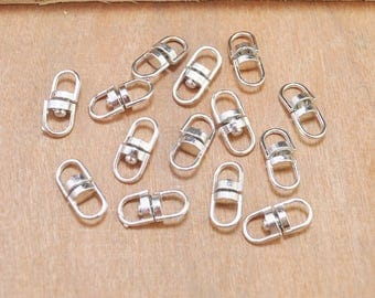 50pcs White K Swivel Key Ring Connectors Perfect for Key Chain Designs--18x8mm