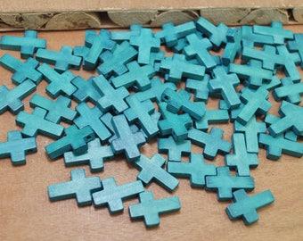 50pcs turquoise blue Wood Cross Pendants,Wooden Crosses,Wooden beads,Wood Cross necklace/bracelet/earring pendant - 23x15mm