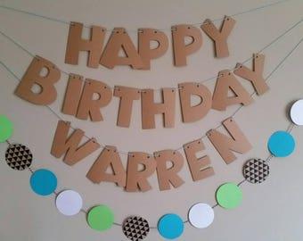Custom Happy Birthday banner set