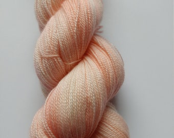 Hand Dyed Yarn, Lace weight, Light Orange, Superwash Merino and Silk, OOAK, Dreamsicle