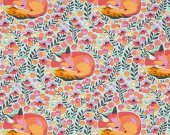 Tula Pink Chipper Fox Nap Sorbet Cotton Fabric Sleeping Foxes Free Spirit Fabrics Turquoise Pink Orange Woodland Animal