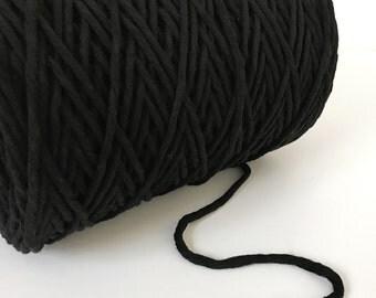 Black Cotton String 6 mm, Bulk Black Macrame Cord, Black Cotton Cord, Black Craft Cord, black rope