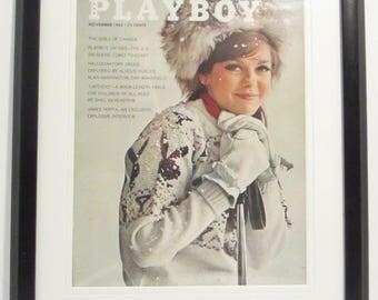 Vintage Playboy Magazine Cover Matted Framed : November 1963 - Sharon Rogers