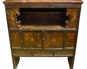 Antique 19th Century Painted Tibetan Cabinet