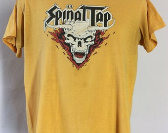 Vtg 1984 Spinal Tap Concert T-Shirt Yellow M/L 80s Heavy Metal Rock Band Comedy Movie