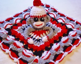 Sock Monkey Lovey, Security blanket, Baby gift, Crochet Sock monkey, Baby blanket, Monkey lovey