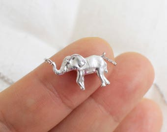 Tiny Silver Elephant Charm Necklace, Dainty Elephant Necklace, Silver Elephant  Necklace,Birthday Gift,Bridesmaid Gift,7002