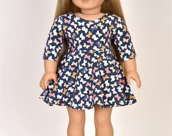 3/4 Sleeve dress for 18 inch dolls American made doll clothes
