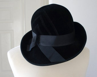 Classy Vintage Black Felted Wool Wide Brim Hat By Panda Of Woolsand Of London W1, Costume Accessories,1930s, 1920s Style, Women, Steampunk