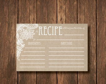 Burlap and Lace Recipe Card - Instant Digital Download