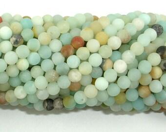 Matte Amazonite Beads, 4mm (4.3mm) Round Beads, 15.5 Inch, Full strand, Approx 95 beads, Full strand, Hole 0.7mm (111054033)