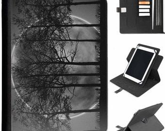 U-MOON01-DARKTREES Dark Trees Moon Tab Samsung Universal Tablet Protective Pu Leather Flip Wallet 360 Swivel Case