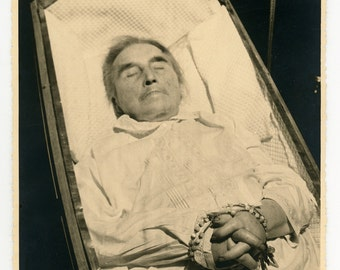Post mortem photo - open casket - bloated hands - death, morning, burial - man laid out- rosary - funeral ephemera