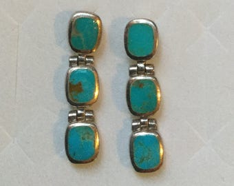 Vintage PB 925 Silver Turquoise Link Dangle Earrings