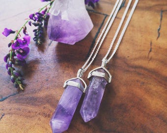 Amethyst Pendulum Necklace / Double Pointed Amethyst / Reiki Healing Jewelry