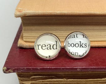 Read Books Stud Earrings, Book Lover Gift, Read More Books, Book Earrings, Literary Gifts, Librarian Gift, Literature Jewelry, 402024
