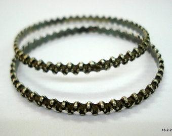 vintage antique tribal old silver bangle bracelet set 2pc chudiyan