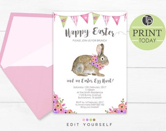 EASTER INVITATION, Easter bunny Invitations, Instant Download, Easter Brunch Invitation, Easter invitations, Watercolor Bunny Invitation