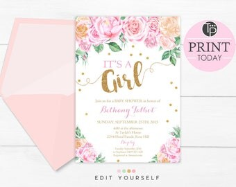 Floral Baby Shower Invitations, Its A Girl Baby Shower Invitation, Instant  Download, Girl