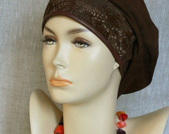 Women's elegant beanie, leather beanie hat, genuine Italian leather, Velour leather, grain leather, hat for autumn, hat for spring,
