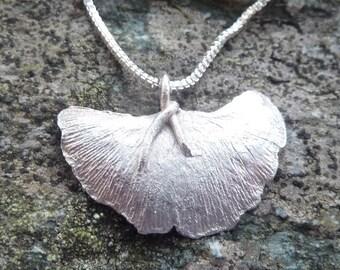 Silver Ginkgo Leaf Pendant