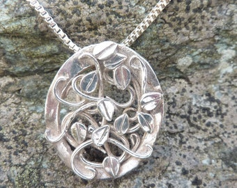 Fine Silver Pendant with Entwined Leaves